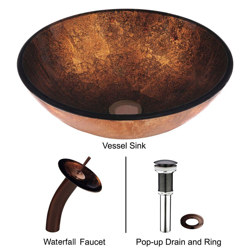 Vigo vessel sink in russet and faucet set in brown for How to install vessel sink