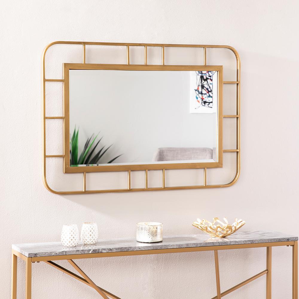 Erzos Gold Decorative Rectangular Wall Mirror