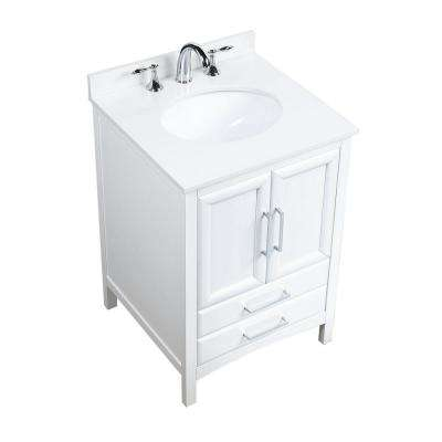 Rochefort 24 in. W x 22 in. D x 35 in. H Bath Vanity in White with Vanity Top in White Cultured Marble with White Basin