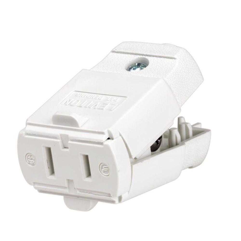 15 Amp Polarized Light-Duty Connector, White