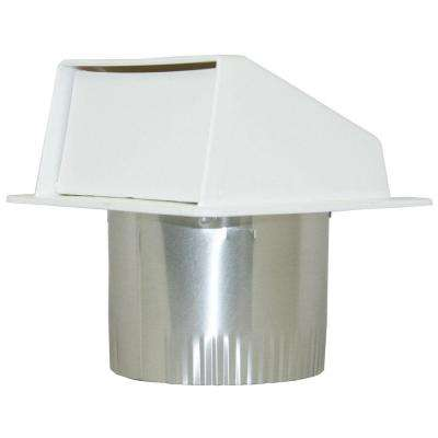 4 in. Dia Plastic Eave Vent in White with 3 in. Long Aluminum Tail Pipe