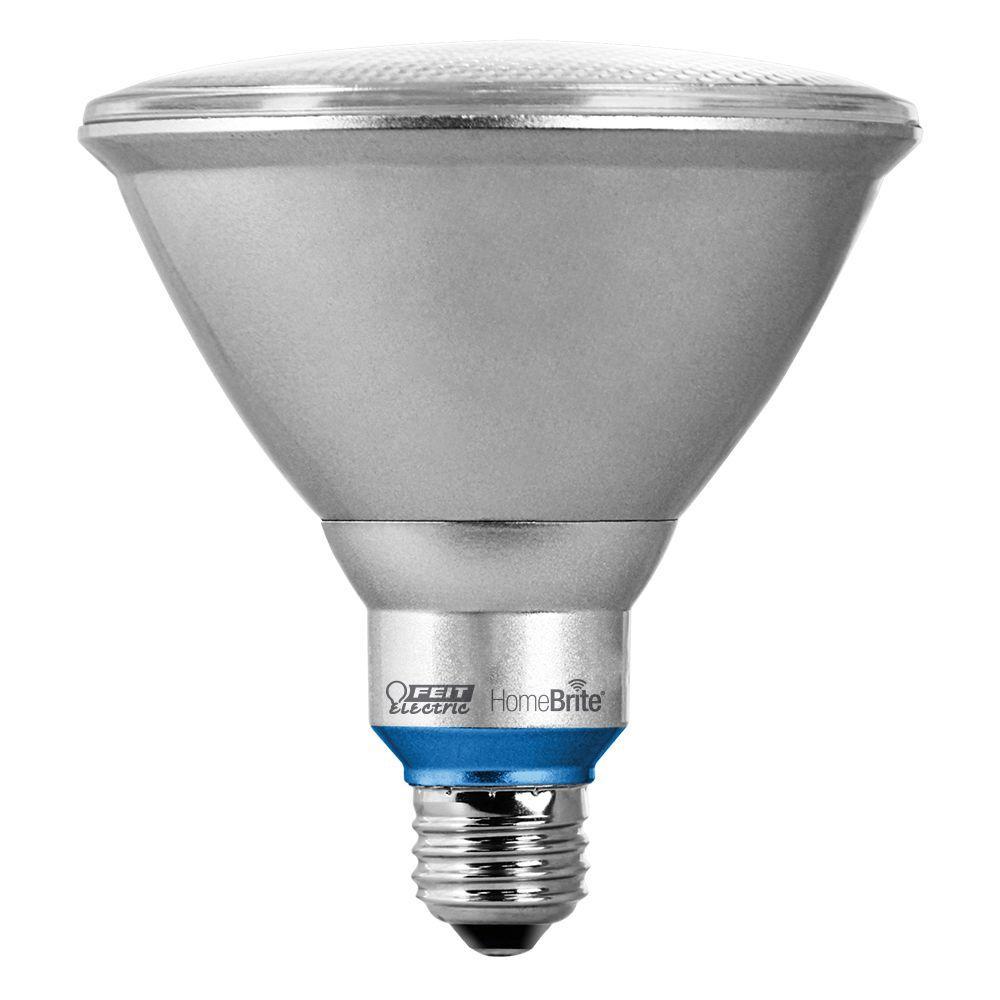 HomeBrite 90W Equivalent Warm White (3000K) PAR38 Dimmable Bluetooth Smart LED Flood Light Bulb
