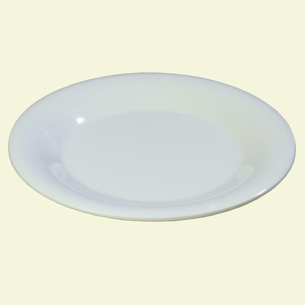 6.5 in. Diameter Melamine Wide Rim Pie Plate in White (Case