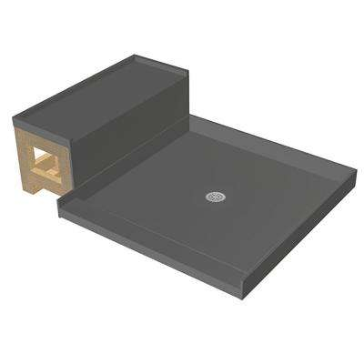 34 in. x 60 in. Single Threshold Shower Base and Bench Kit with Center Drain