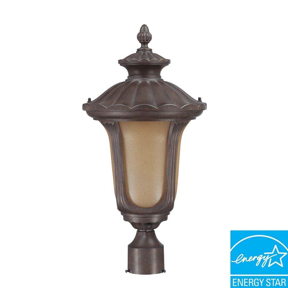 1-Light Outdoor Fruitwood Fluorescent Post Light