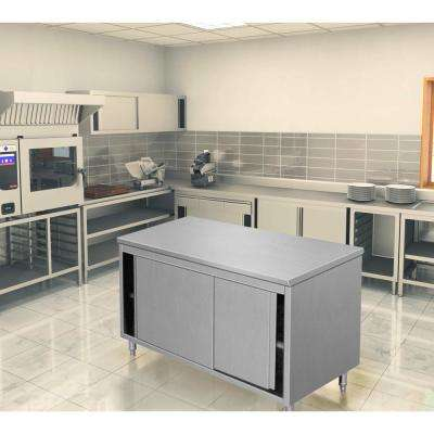 64 in. x 28 in. x 34 in. Stainless Steel Kitchen Surface Utility Table Storage Cabinet Sliding Door