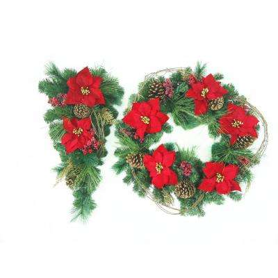 30 in. Wreath Plus 32 in. L Swag Battery Operated Pre-Lit LED Black Friday Wreath/Swag Set with Red Point and Berries