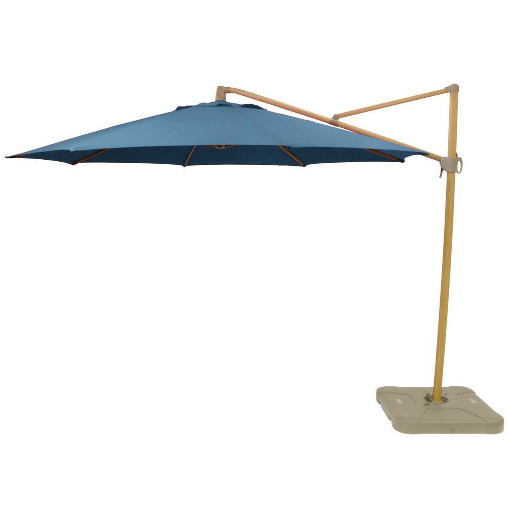 Hampton Bay 11 ft. Aluminum Cantilever Tilt Patio Umbrella in CushionGuard Charleston with Faux Wood Pole