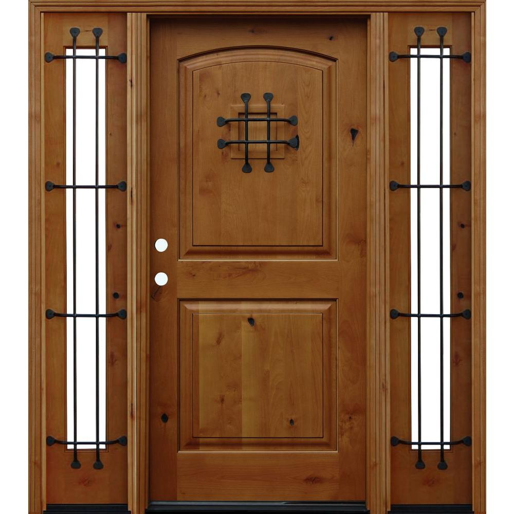 Pacific Entries 70 in. x 80 in. Rustic Arched 2-Panel Stained Knotty Alder Wood Prehung Front Door with 14 in. Sidelites