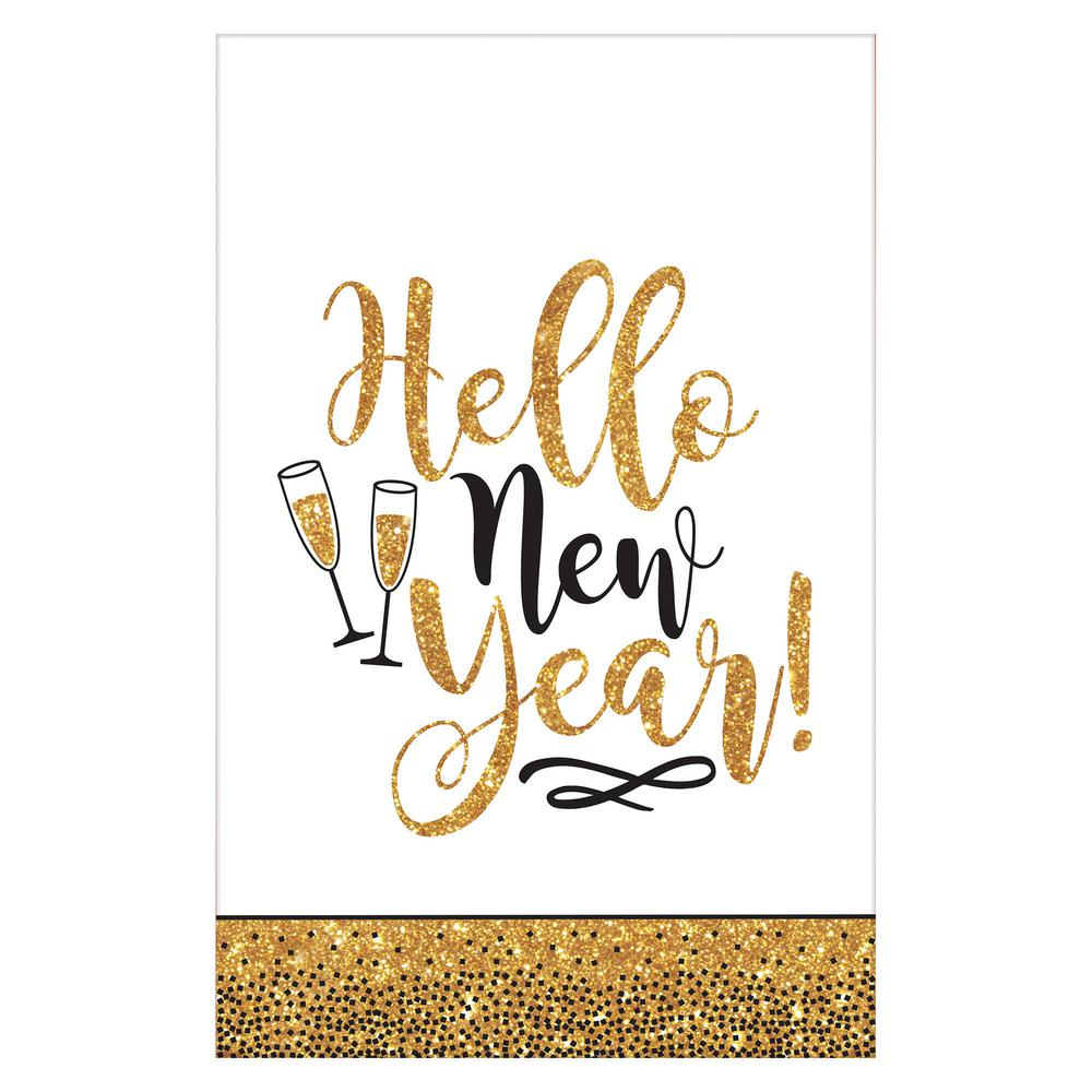 New Year's 102 in. Gold Glitter Plastic Tablecover (3-Pac...