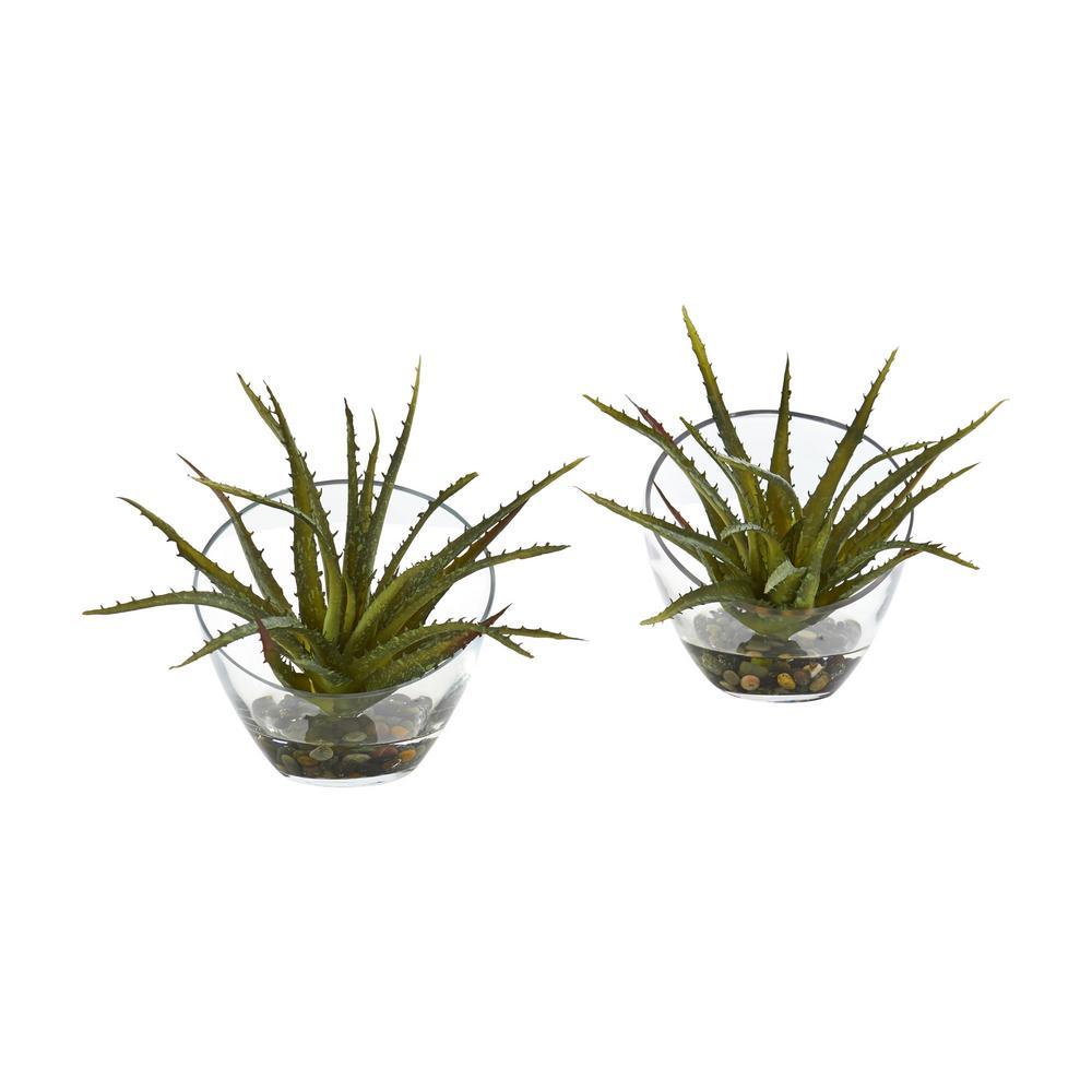 Indoor Aloe Artificial Plant in Slanted Vase (Set of 2)