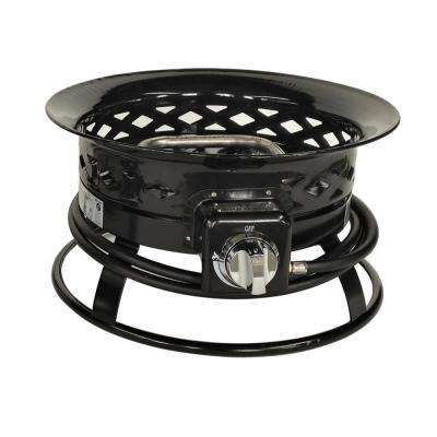 19 in. x 9 in. Round Metal Propane Fire Pit in Black with Lattice Design