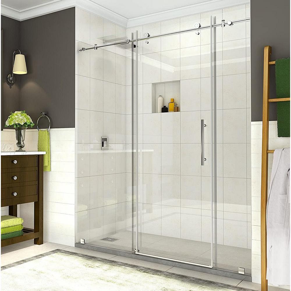 Coraline 68 - 72 in. x 76 in. Completely Frameless Sliding Shower Door in Polished Chrome