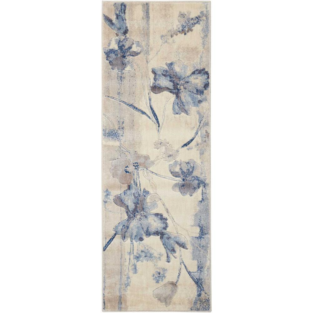 Somerset Ivory/Blue 2 ft. x 6 ft. Runner Rug