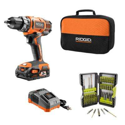 18-Volt Cordless 2-Speed 1/2 in. Compact Drill/Driver Kit and Titanium Coated Steel Drill and Drive Kit (103-Piece)
