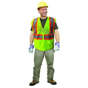 Click here to buy Enguard X-Large Lime ANSI Class 2 Fire Retardant Poly Mesh Safety Vest with 2 inch Orange / 2 inch Silver Striping by Enguard.