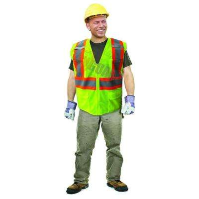 X-Large Lime ANSI Class 2 Fire Retardant Poly Mesh Safety Vest with 2 in. Orange / 2 in. Silver Striping
