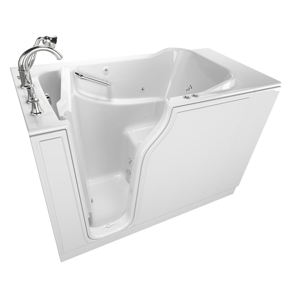 American Standard Gelcoat Value Series 52 in. x 30 in. Left Walk-In Whirlpool and Air Bathtub in White