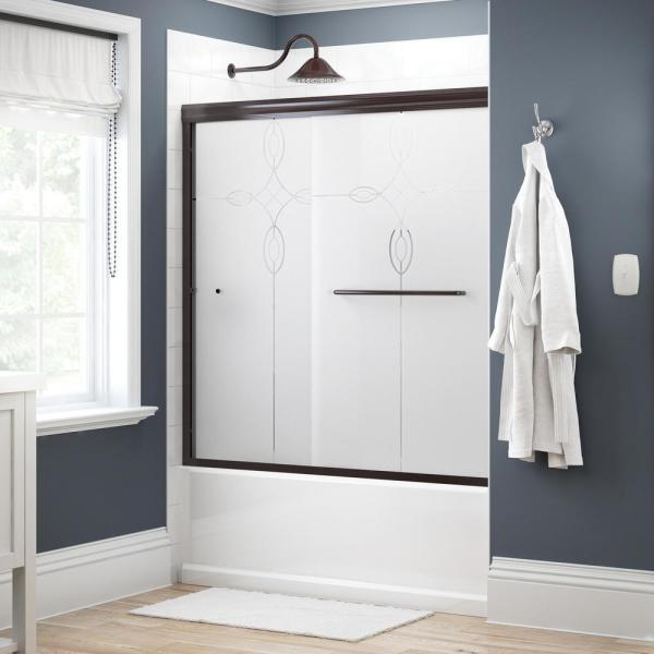 Simplicity 60 in. x 58-1/8 in. Semi-Frameless Traditional Sliding Bathtub Door in Bronze with Tranquility Glass