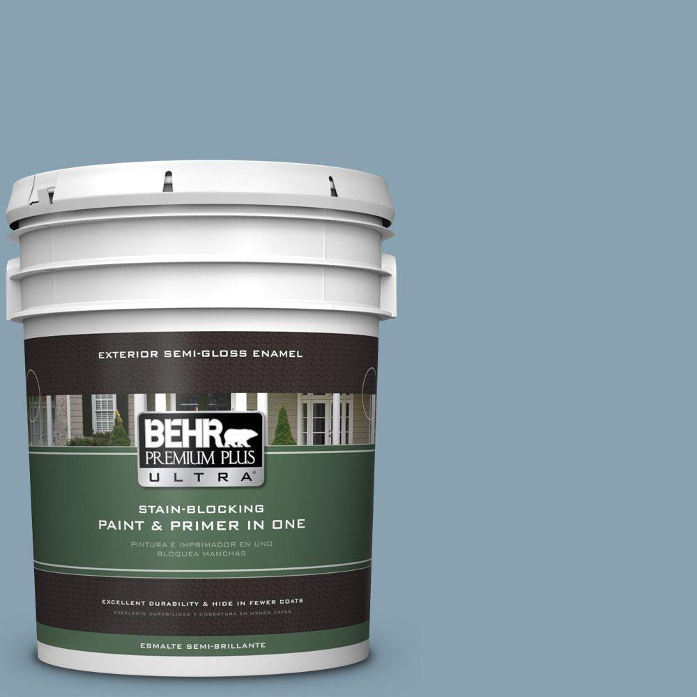 BEHR Premium Plus Ultra 5-gal. #T14-14 Cloisonne Blue Semi-Gloss Enamel Exterior Paint