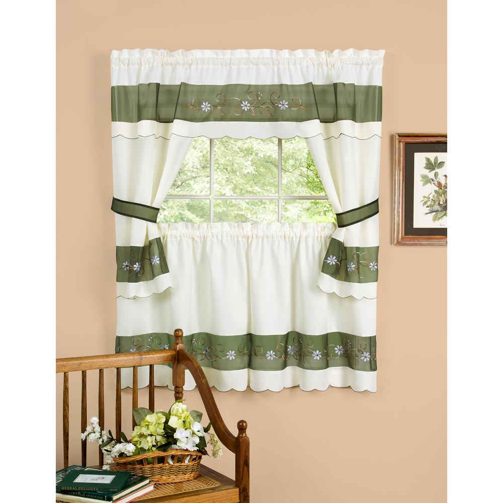 Lichtenberg Sheer Sage Green Eden Printed Textured Sheer Kitchen Curtain Swags 56 In W X 36 In