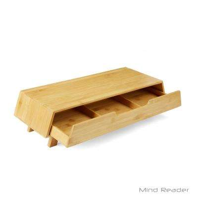 Eco-Friendly Bamboo Monitor Stand with Storage Drawer in Brown