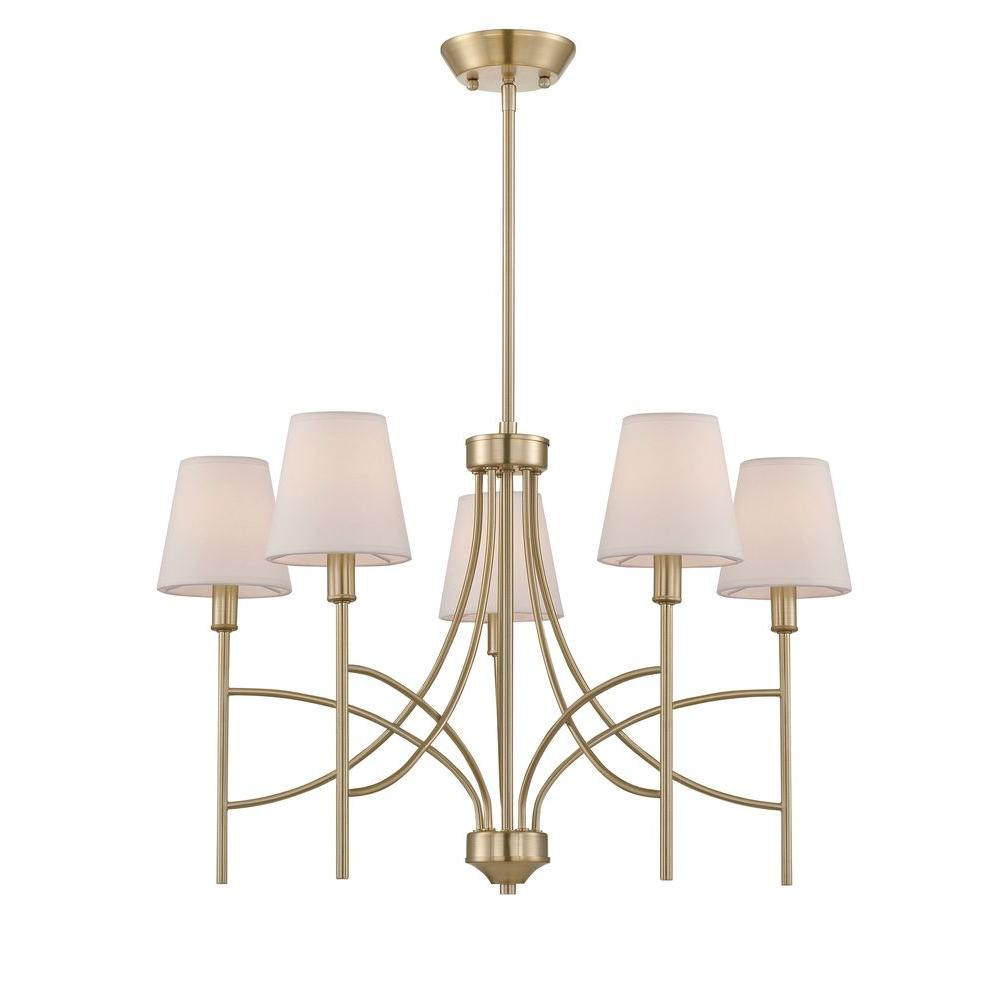 World Imports Millau Collection 5-Light Satin Gold Chandelier with Fabric Shade