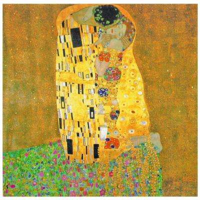 "Oriental Furniture 20 in. x 20 in. ""Works of Klimt The Kiss"" Canvas Wall Art"