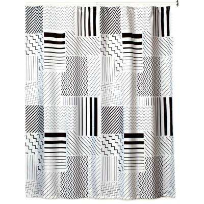 Modern Angles' 72 in. x 72 in. White, Black and Grey Shower Curtain Set