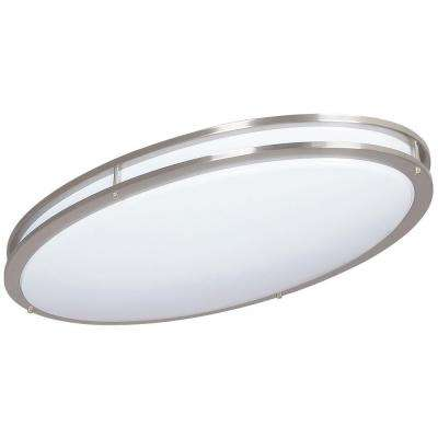 ADL Lumin Bright Satin Nickel Indoor/Outdoor LED Oval Ceiling Fixture