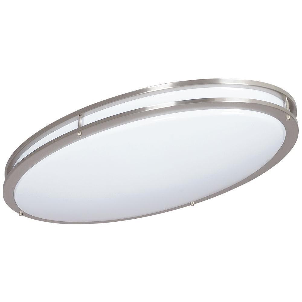 ADL Lumin Bright Satin Nickel Indoor/Outdoor LED Oval Ceiling Fixture
