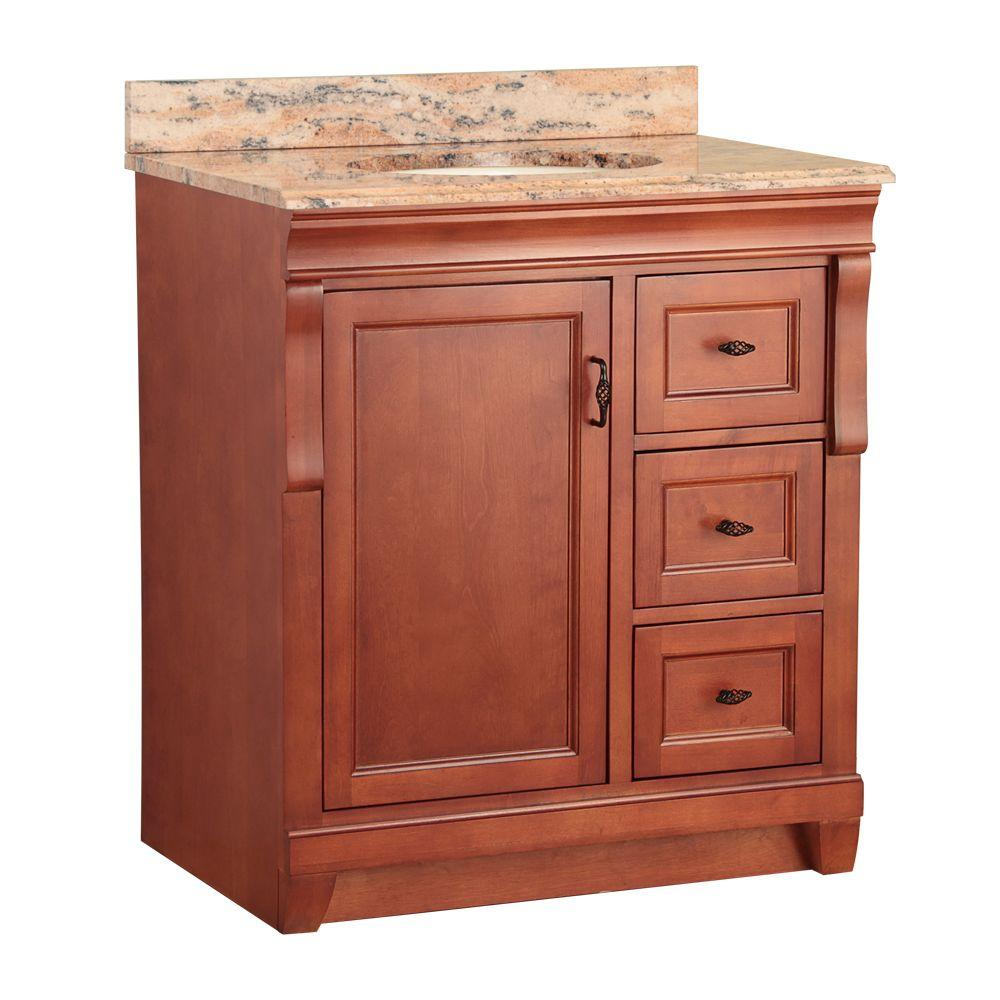 Home Decorators Collection Naples 31 in. W x 22 in. D Vanity in Warm Cinnamon with Vanity Top and Stone Effects in Bordeaux
