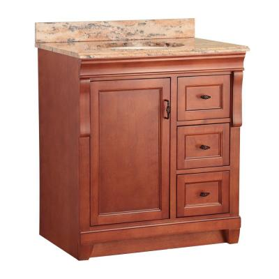 Naples 31 in. W x 22 in. D Vanity in Warm Cinnamon with Vanity Top and Stone Effects in Bordeaux