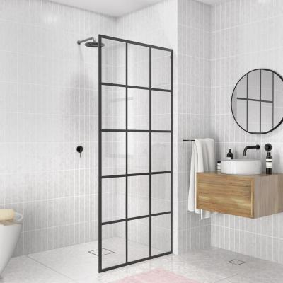 French Monture Noir 34 in W x 78 in. H Fixed Single Panel Frameless Shower Door in Matte Black with Clear Glass