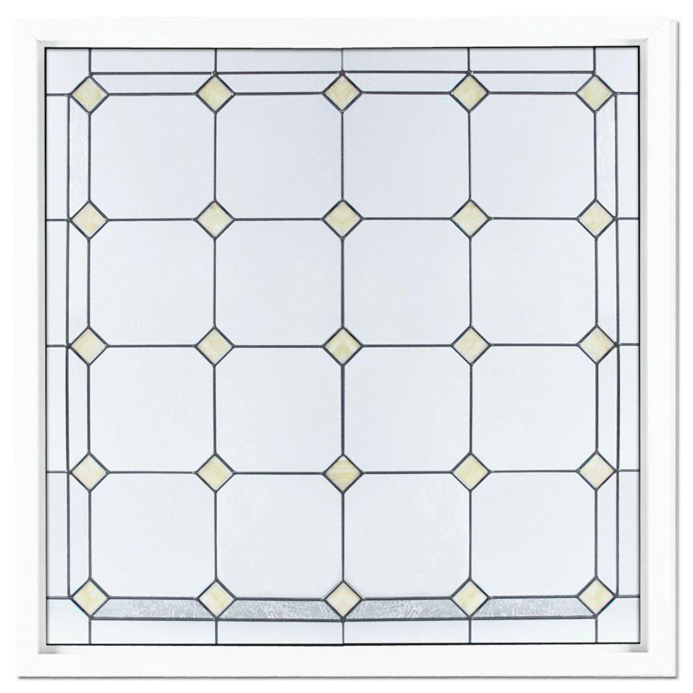 Hy-Lite 47.5 in. x 47.5 in. Black Patina Caming American PE Pattern Decorative Glass White Vinyl Fin Picture Window-DISCONTINUED