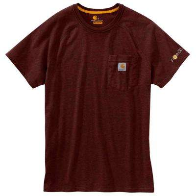 Force Delmont Men's Regular XXXX Large Red Brown Heather Cotton Short Sleeve T-Shirt