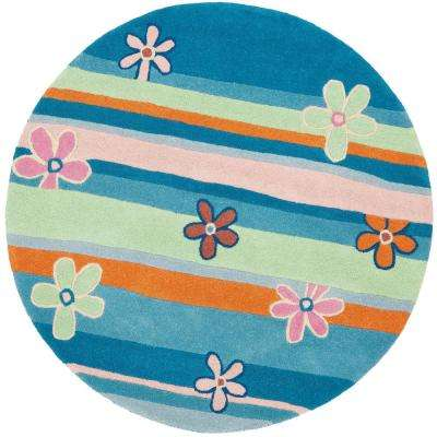 Kids Blue/Multi 6 ft. x 6 ft. Round Area Rug