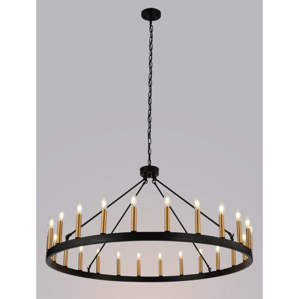 24 Light Black Candle Style Wagon Wheel Chandelier Ws Bezo24 Bg The Home Depot