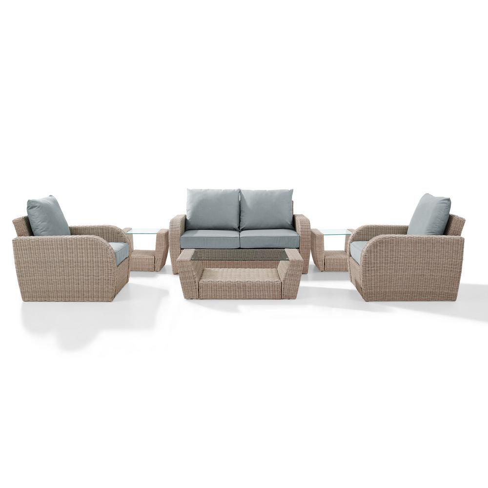 Wondrous Crosley St Augustine 6 Piece Wicker Patio Outdoor Seating Set With Mist Cushion Loveseat 2 Chairs 2 Side Tables Coffee Table Ibusinesslaw Wood Chair Design Ideas Ibusinesslaworg