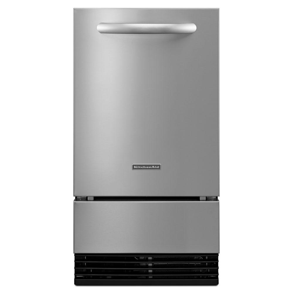 KitchenAid Architect Series II 18 in. 50 lb. Freestanding or Built-In Icemaker in Stainless Steel