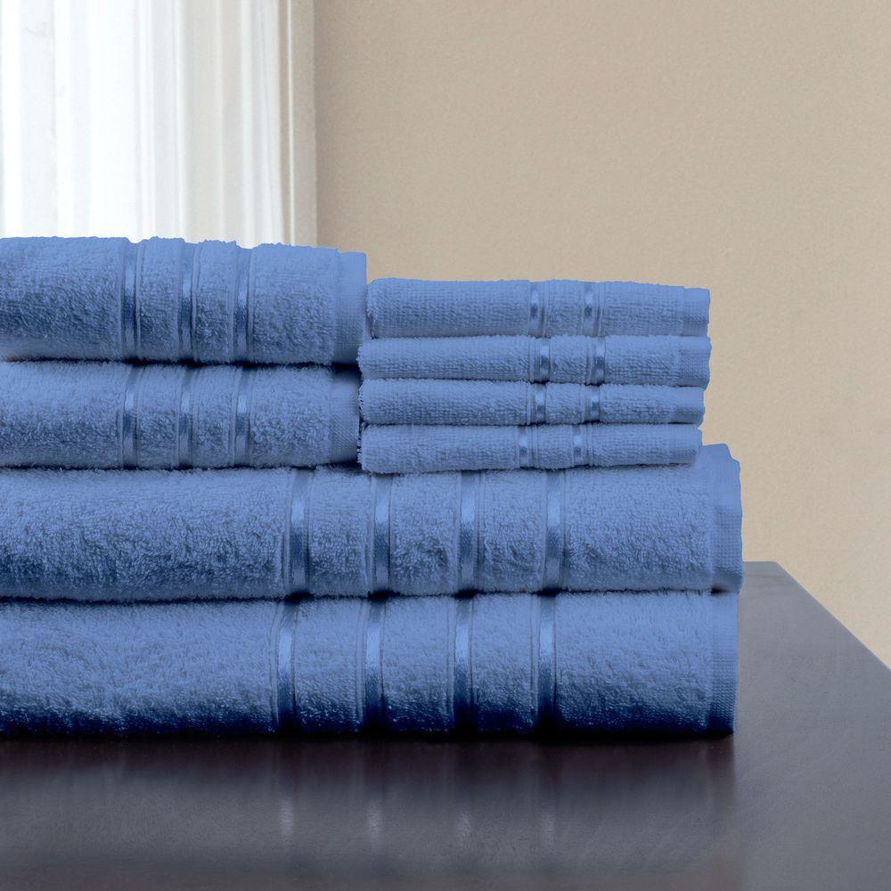 100% Cotton Bath Towel Set in Blue (8-Piece)