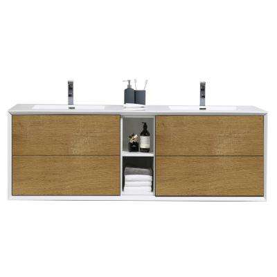 Vienna 75 in. Wall Mount Bathroom Vanity in Oak White with Integrated Acrylic Top in White with White Double Sinks