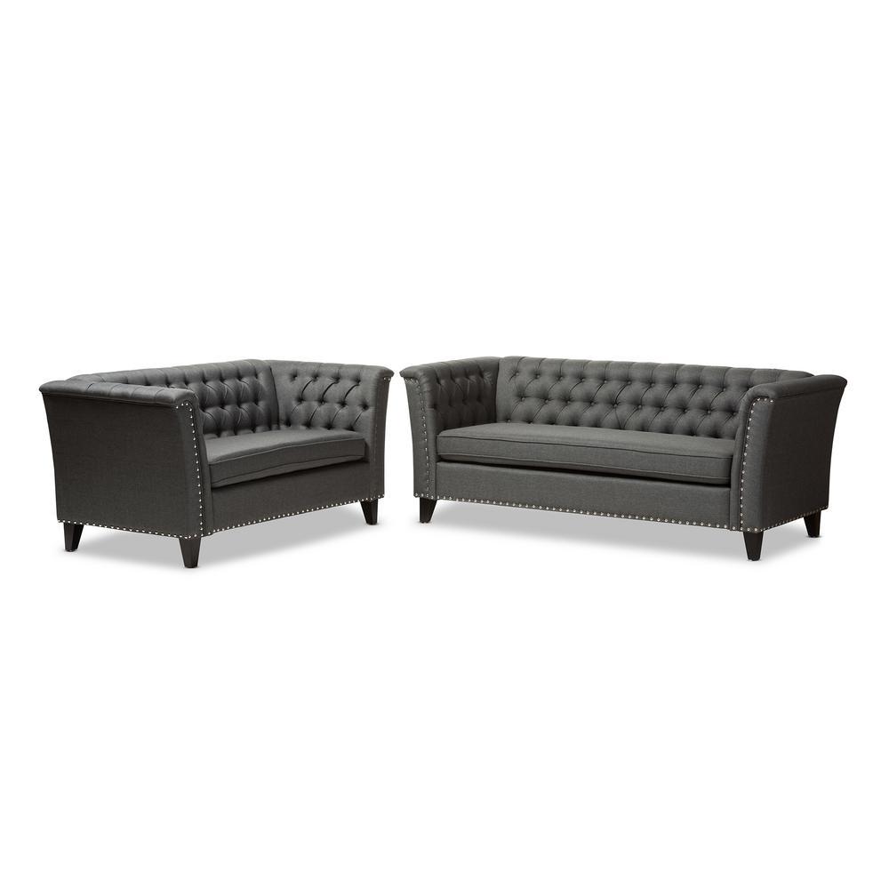 Baxton Studio Prima 2-Piece Gray Living Room Set-7739-7741-HD - The ...