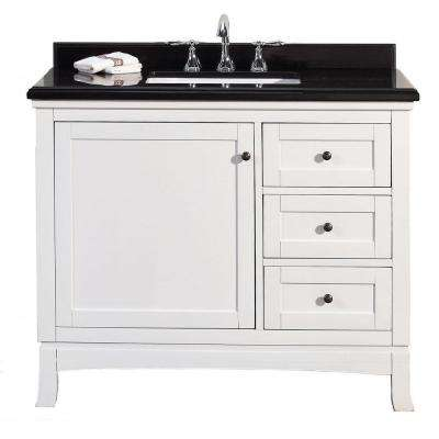 Sophia 42 in. W x 21 in. D Vanity in White with Granite Vanity Top in Black with White Basin