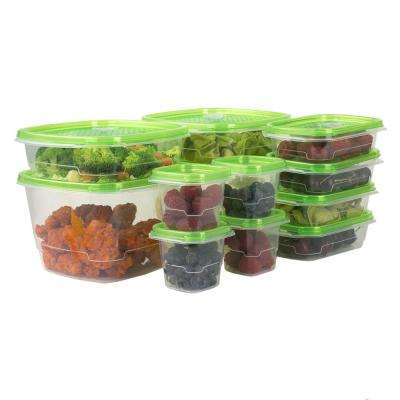 12-Piece Plastic Food Storage Container Set with Vented Plastic Lids