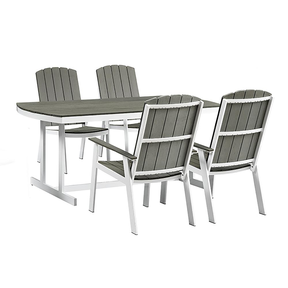 Walker Edison Furniture Company Coastal Grey/White 5 Piece Metal And Wood  Outdoor Dining Set HDCST5PCWG   The Home Depot