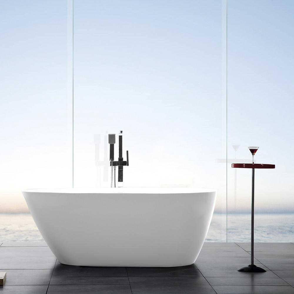 Vanity Art Bayonne 59 in. Acrylic Flatbottom Freestanding Bathtub in White