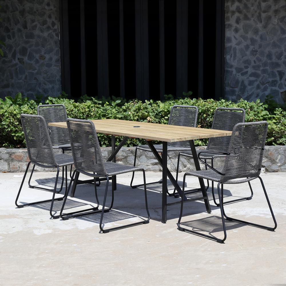 Rope Patio Furniture.Royal Garden Linden Hills 7 Piece Steel Rope Outdoor Dining Set