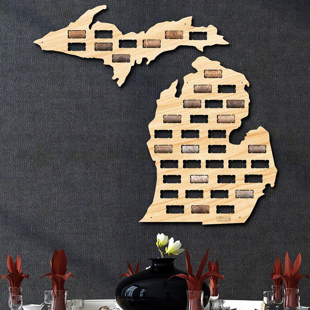 26 in. x 23.5 in. Michigan Wine Cork Map