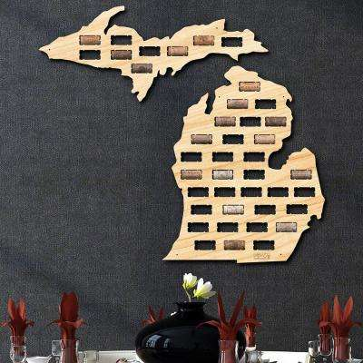 26 in. x 23.5 in. Michigan Wine Cork Map